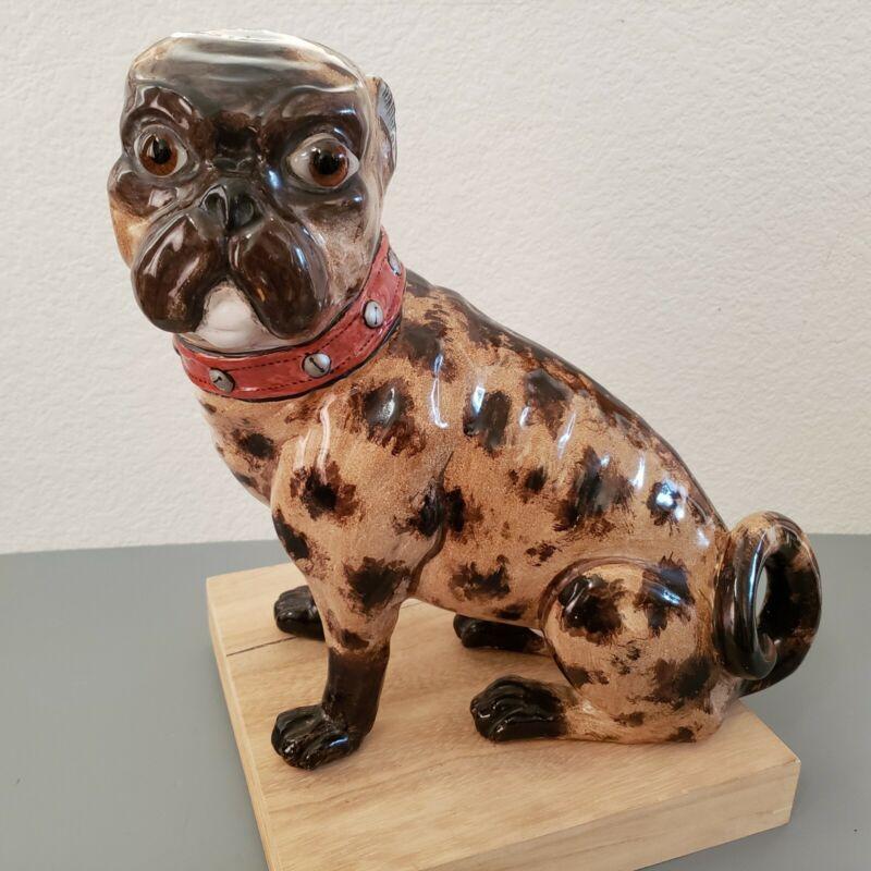 "Emily Galle Rare Pottery Sitting Pug ""Monsieur Le Comte"""
