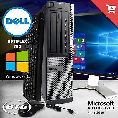 """Fast Dell Desktop Computer 8GB 1TB 240GB SSD Windows 10 Pro WiFi 19"""" 20"""" LCD KM"""