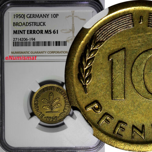 Germany Federal Republic 1950-J 10 Pfennig NGC MINT ERROR MS61 BROADSTRUCK KM108
