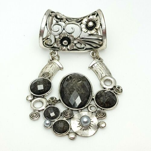 Silver Tone Scarf Holder Clip Black Faceted Beads Statement Dangle Open Work