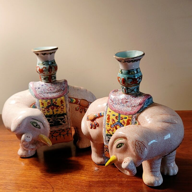 Vintage Pair Of Chinese Famille Rose Elephant Candle Holders