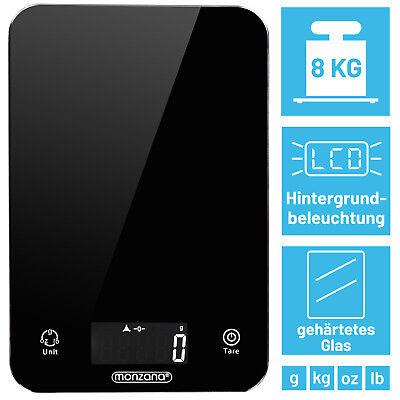 Küchenwaage Haushaltswaage Digitalwaage Waage schwarz Beleuchtung LCD 8kg/1g Küchenwaage