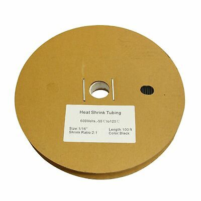 116 1.5mm 100 Ft. 100 Feet Polyolefin 21 Heat Shrink Tubing Tube Cable Black
