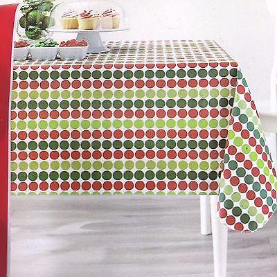Christmas Polka Dot Vinyl Tablecloth Rectangle 52 x 70 Red Green Holiday Time (Red Polka Dot Tablecloth)