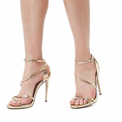 BNIB CARVELA KURT GEIGER WOMEN'S GOLD ANKLE STRAP HIGH HEEL SANDALS SHOES 4/37 Gold High Heel Sandals