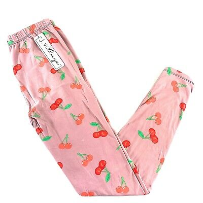J. Village cherry print Soft leggings one size Pink New kawaii Cute pastel