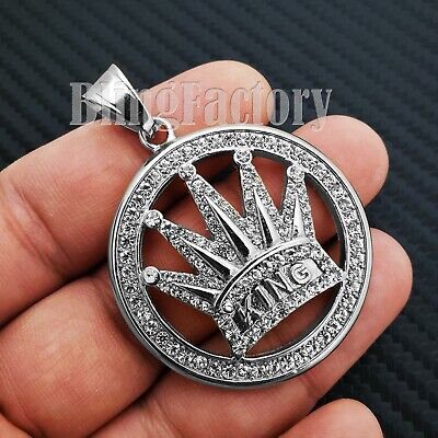 STAINLESS STEEL ICED OUT LAB DIAMOND CROWNED KING MEDAL CHARM PENDANT