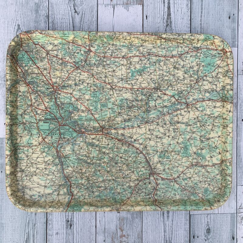 Vintage France Map Fontainebleau Montereau Provins Melun Sens Moret serving tray