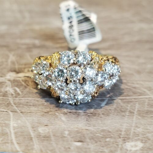 18k Yellow Gold 2.50ct Diamond Cluster Ring size 9