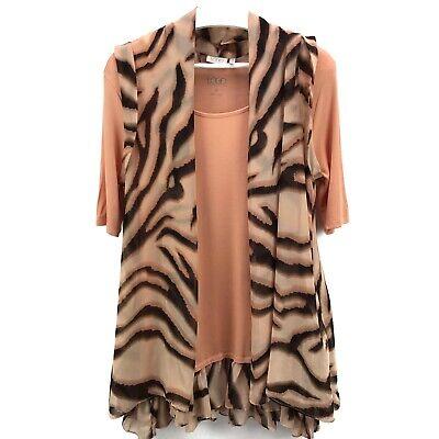 LOGO by Lori Goldstein Chiffon Vest with Knit Top Twin Set Size M EUC (1K04) Vest Twin Set