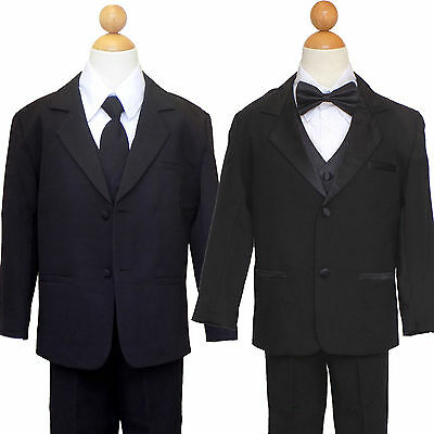 BOYS TODDLER, TEEN RING BEARER, GRADUATION BLACK SUIT SET , SIZE: 2T to 14 (Ring Bearer Suit)