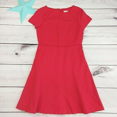 J. Crew Short Sleeve Flounce Ponte Dress Size 2 Knit Red Holiday Christmas New  ()