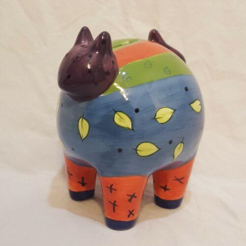 "Cat Bank Piggy Penny Bank Hand Painted Leave Stripes Milson & Louis 5"""