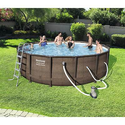 Bestway 15125 16 Foot Power Steel Round Frame Above Ground Pool Set and Pump