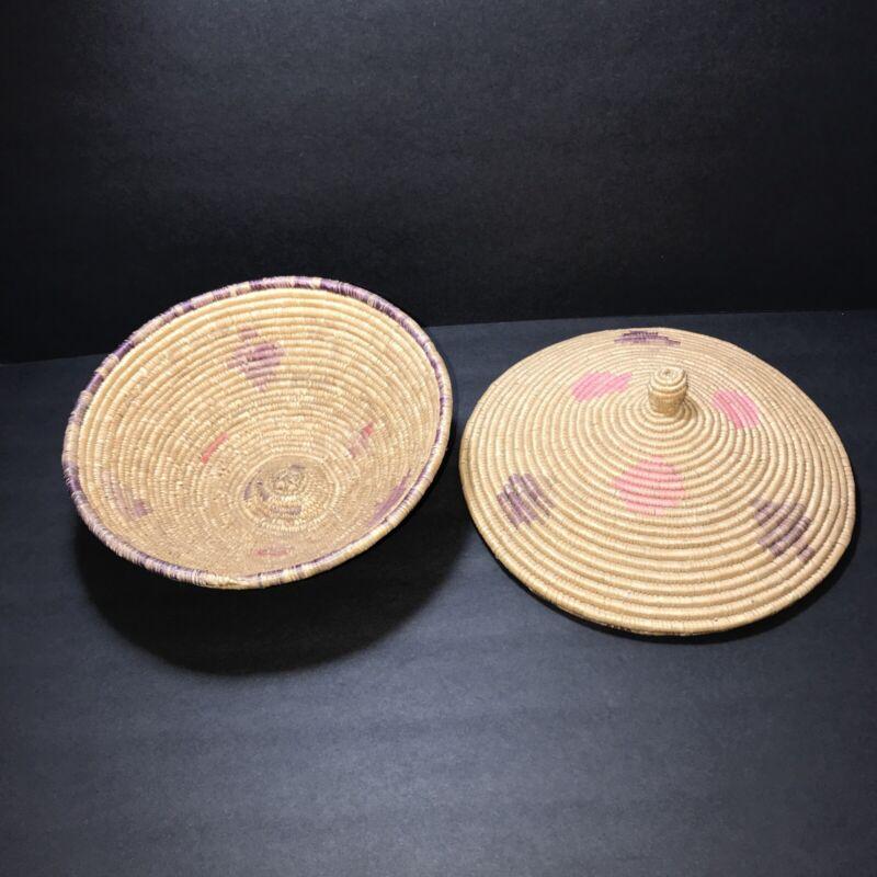 Vintage African Coiled Basket Hand Woven Lidded  Diamond Tribal Design