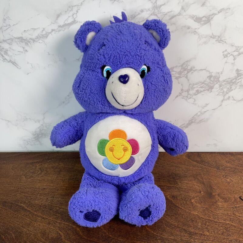 Care Bears Plush Purple Harmony Bear 2014 Sun Flower Embroidered Just Play