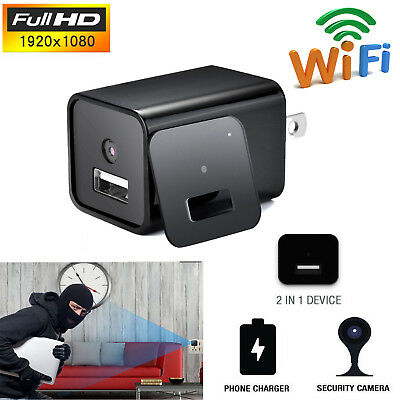 1080P HD WIFI Mini Spy Camera USB Wall Charger Motion Detector Nanny Cam Adapter