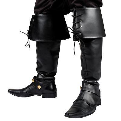 schwarz Pirat Freibeuter Steampunk Santa Haken Stiefel TOP (Santa Kostüme Stiefel)