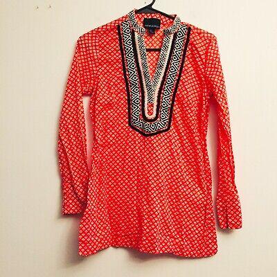 Cynthia Rowley Pullover Tunic Top Braided Trim Size XS Orange -