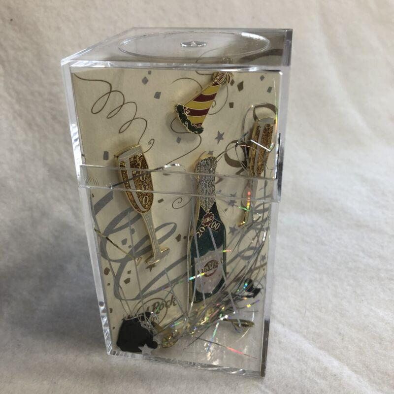 Hard Rock Cafe Collector Pins Cleveland 2000 Millennium 4 Pin Set Case Confetti