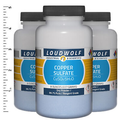 Copper Sulfate 1.5 Lb Total 3 Bottles Reagent Grade Dry Powder Usa Seller