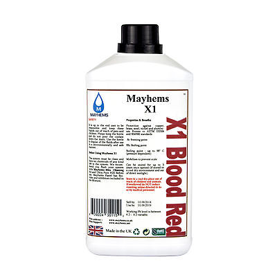 Mayhems X1 Pre Mixed Water Cooling Liquid Coolant Blood Red Fluid 1 Litre