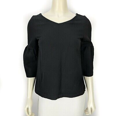Ann Taylor Solid Black Lantern Sleeve Double V Top Blouse Shirt Women's Small