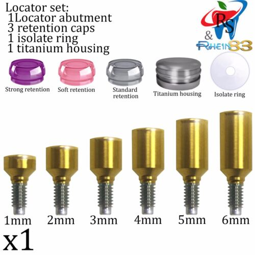 Dental Implant Locator Attachment Set Abutment Caps Ring Housing Select Size