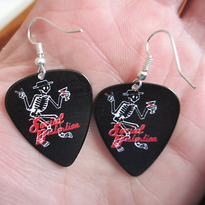SOCIAL DISTORTION Earrings; Party Skeleton; Guitar Pick Jewelry; Silver Tone