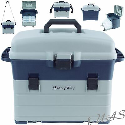 DELTA FISHING Top XXL Angel Koffer 44x25x32cm mit 3x Tackle Box Gerätekasten Sha