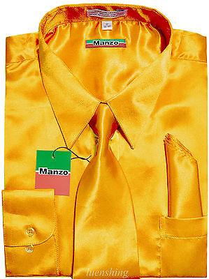 New men's satin dress shirt_necktie & hankie set long sleeve prom party (Gold Necktie Polyester Satin)