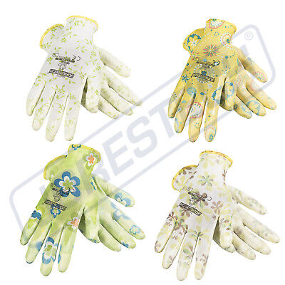 - Garden Gardening Yard Gloves Nitrile Dipped Anti-Slip Knit Wrist 4 pairs NEW