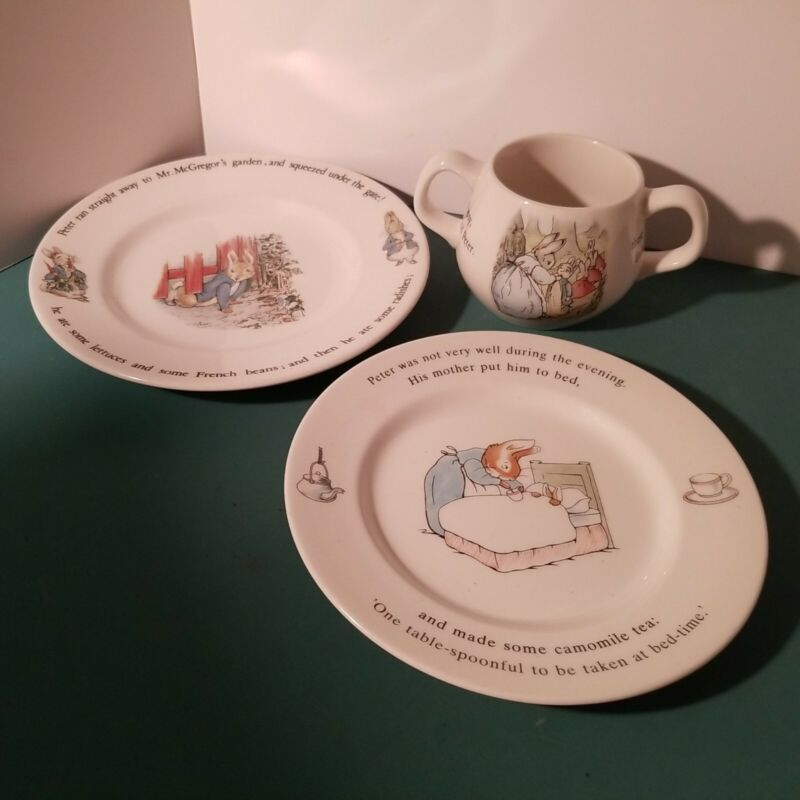 Vintage Wedgwood Peter Rabbit 3-Pc. Childs 2 Handled Cup & 2 Plate Set, England