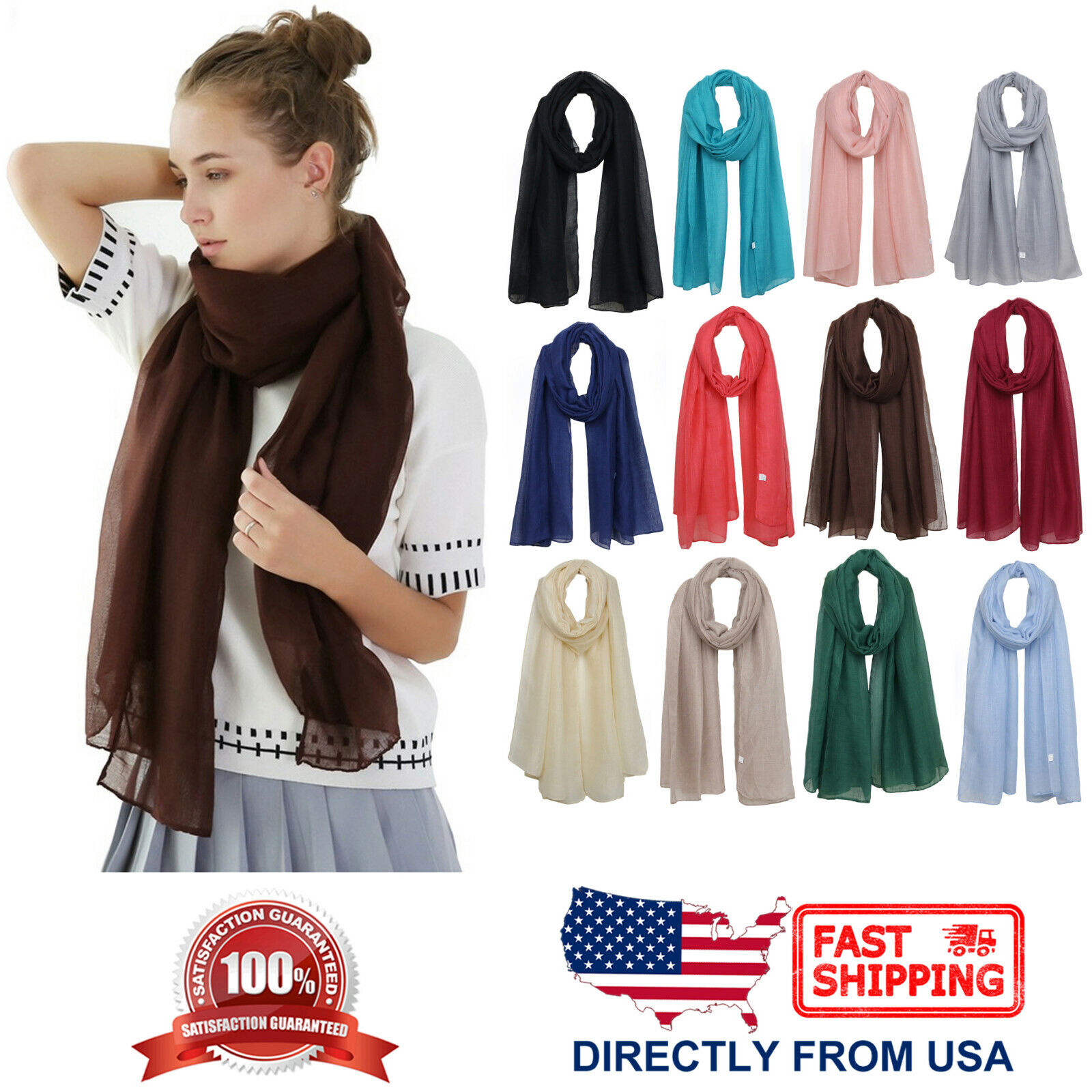 Women's Natural Dye Solid Color Long Shawl Lightweight Wrap Fashion Scarf Clothing, Shoes & Accessories