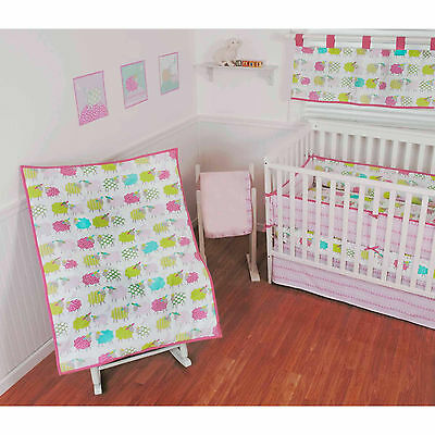 Sumersault Lamby Pie 10 Piece Crib Bedding Set Lambs girls nursery new