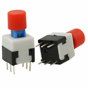 10-Pcs-Panel-PCB-Tact-Tactile-Push-Button-Switch-Self-Lock-8-x-8mm-x-15mm-w-Cap