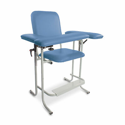 Upholstered Blood Drawing Chair Tall Blue Flip Arm 1 Ea