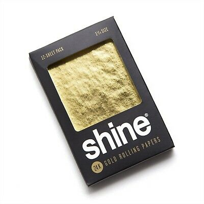 NEW Shine 12 Sheet Pack 24K Karat Gold Rolling Paper Papers Package + QUICK SHIP (Shine Paper)