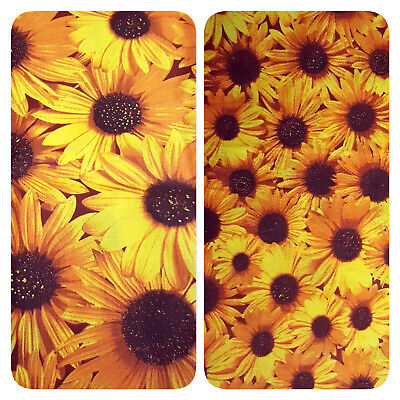 YELLOW SUMMER SUNFLOWERS PRINT Poly Cotton Fabric 58