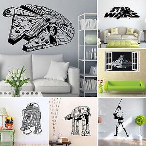 Star Wars Millenium Falcon Wall Stickers 3d Bedroom Pvc Mural Decals Wallpaper Ebay