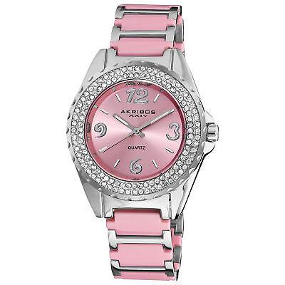 Women's Akribos XXIV AK514PK Quartz Crystal Bezel Pink Ceramic Bracelet Watch