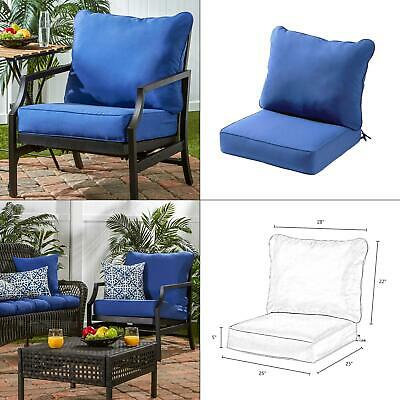 solid marine 2-piece deep seating outdoor lounge chair cushion set | back blue