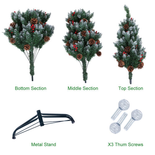 5/6/7FT Spray White Christmas Tree Metal Stand  Bushy Pine Branches In/Outdoor