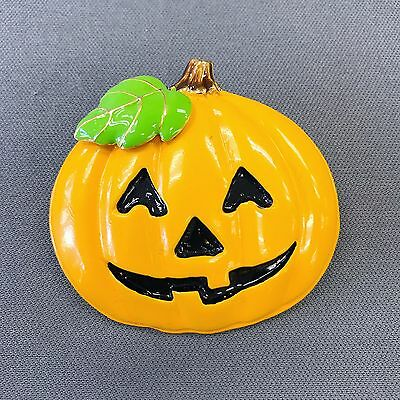 Gold Finished Happy Halloween Smile Pumpkin Design Shape Pin Catch - Happy Halloween Pumpkin Design