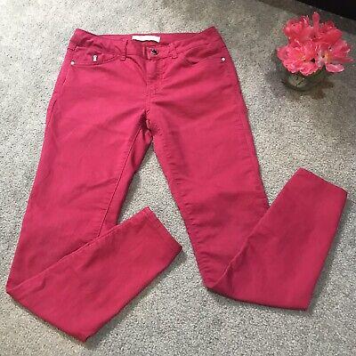 Zara Basic Denim Z1975 Dark Pink Skinny Jeans US 6 EUR 38 Zipper Pocket
