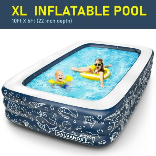 """EXTRA LARGE Inflatable Pool Above Ground Swimming Pool for Kiddie, Kids 22"""" Deep"""