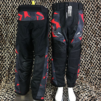 NEW Valken Crusade Padded Tournament Paintball Pants - Riot Red/Black - Large
