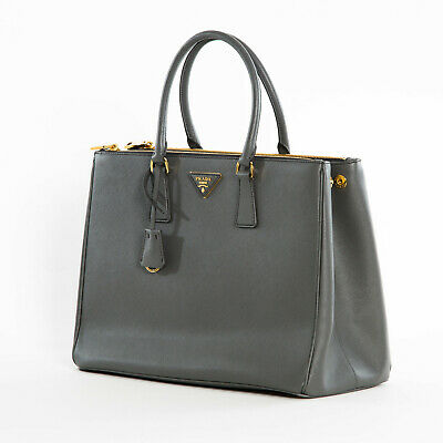 Prada 1BA786 F0048 Large Saffiano Lux Women's Tote Bag Mercurio Dark Grey