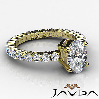 Shared Prong Oval Shape Natural Diamond Engagement Eternity Ring GIA F VS2 1.8Ct 8