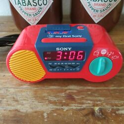 Sony ICF-C6000 My First Sony Kids Alarm Clock Radio Red / Blue Tested & Works VG